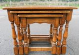 Medium Oak Nest of Three Antique Style Coffee Tables